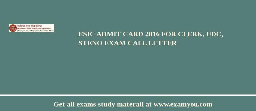 ESIC Admit Card 2020 for Clerk, UDC, Steno Exam Call Letter