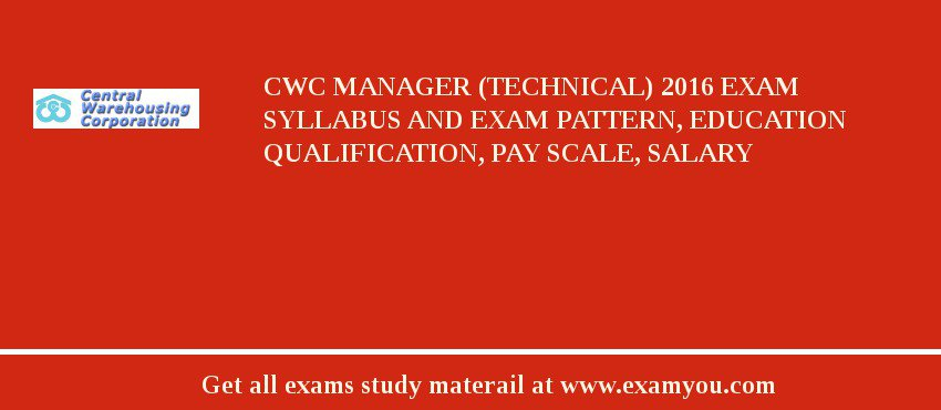 CWC Manager (Technical) 2019 Exam Syllabus And Exam Pattern, Education Qualification, Pay scale, Salary