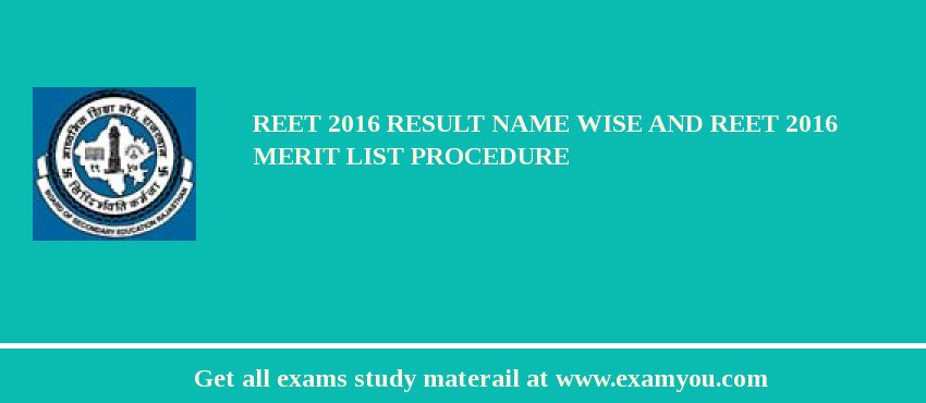 REET 2019 Result Name Wise and REET 2019 Merit List Procedure