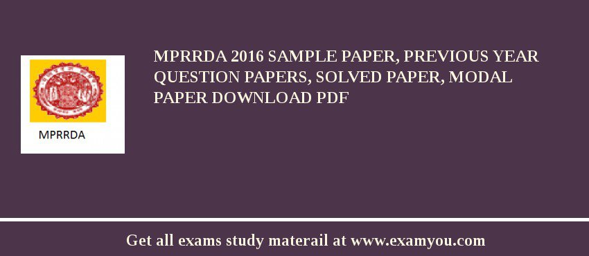 MPRRDA 2020 Sample Paper, Previous Year Question Papers, Solved Paper, Modal Paper Download PDF