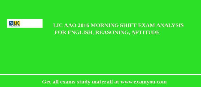LIC AAO 2020 Morning Shift Exam Analysis  for English, Reasoning, Aptitude