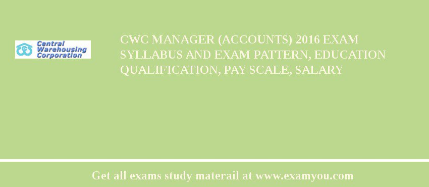 CWC Manager (Accounts) 2020 Exam Syllabus And Exam Pattern, Education Qualification, Pay scale, Salary