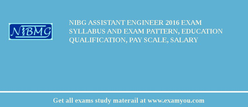 NIBG Assistant Engineer 2019 Exam Syllabus And Exam Pattern, Education Qualification, Pay scale, Salary
