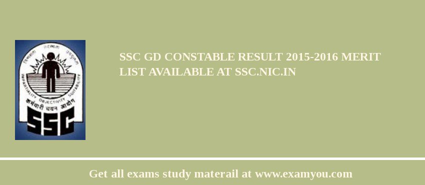 SSC GD Constable Result 2020-2016 Merit List Available at ssc.nic.in