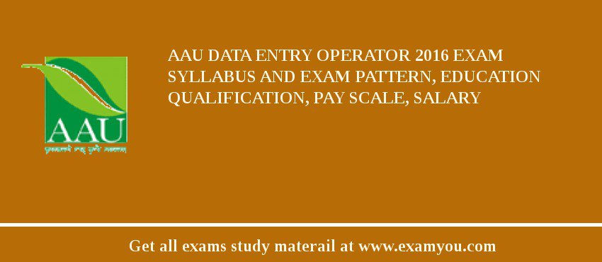 AAU Data Entry Operator 2020 Exam Syllabus And Exam Pattern, Education Qualification, Pay scale, Salary