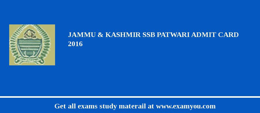 Jammu and Kashmir Service Selection Board (JKSSB) Patwari Admit Card 2020