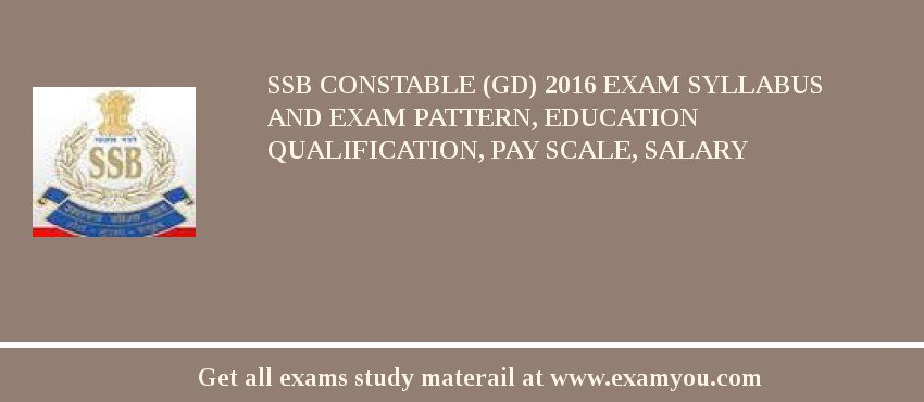 SSB Constable (GD) 2020 Exam Syllabus And Exam Pattern, Education Qualification, Pay scale, Salary
