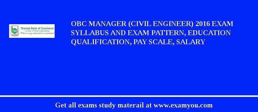 OBC Manager (Civil Engineer) 2020 Exam Syllabus And Exam Pattern, Education Qualification, Pay scale, Salary