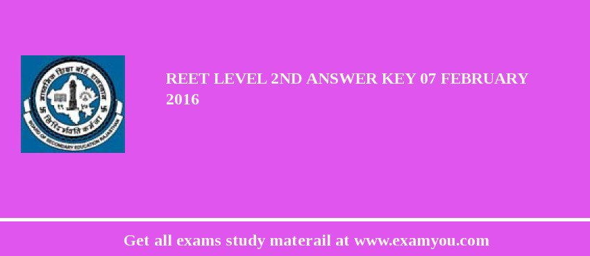 REET Level 2nd Answer key 07 February 2020